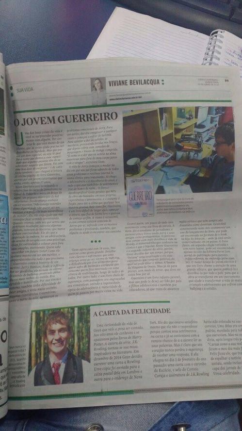 Livro Guerreiro, de Gean Zanelato, no Diário Catarinense.