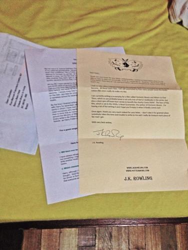 Carta enviada por J.K.Rowling