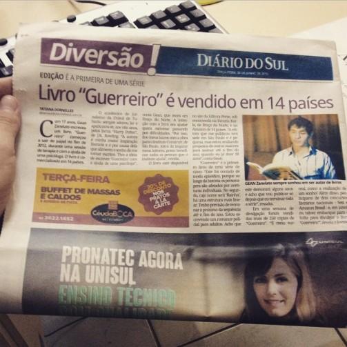 Matéria no Jornal Diário do Sul, de Tubarão (2015).
