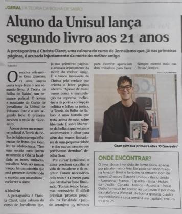 Matéria no jornal Notisul, de Tubarão (2018).