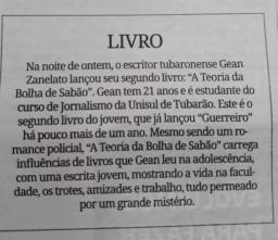 Matéria no Jornal Diário do Sul, de Tubarão (2018).